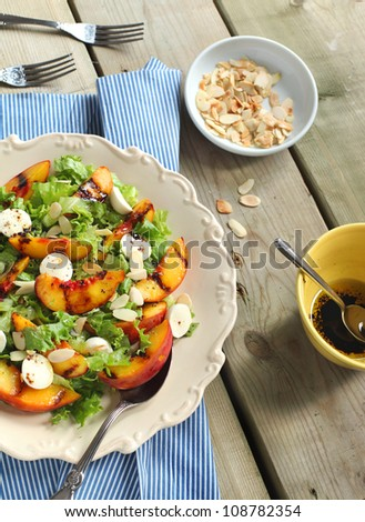 Green salad with grilled peaches and bocconcini - stock photo