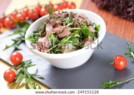 Green salad with meat