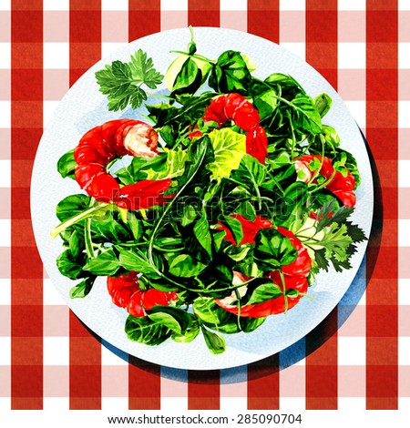 Green salad with shrimps on white plate, watercolor painting on white background - stock photo