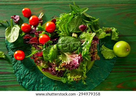 Green salad with spinach lettuce tomatoes feta cheese on monochrome wood - stock photo
