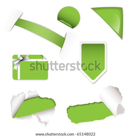 Green sale tag concept with torn paper and gift tag - stock photo