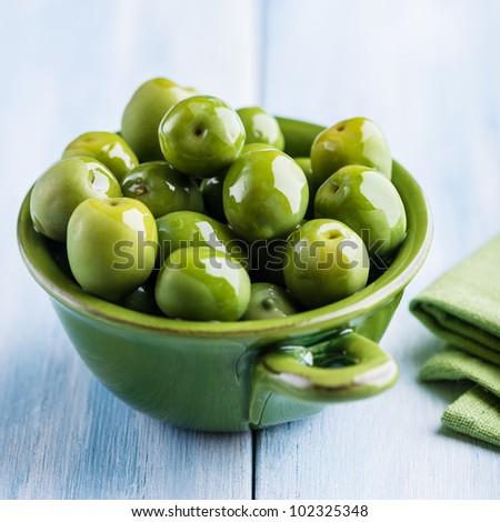 Green Sant Agostino Olives - stock photo