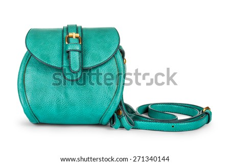 green sea ladies leather bag on an isolated white background - stock photo
