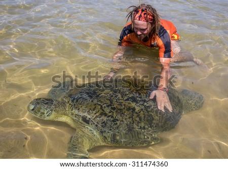 Green Sea Turtle and man - stock photo