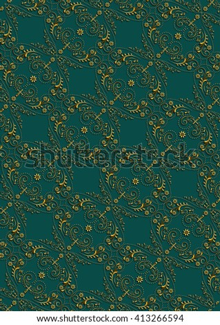 Greenseamless backgroundfrom vintage gold floral pattern with cross - stock photo