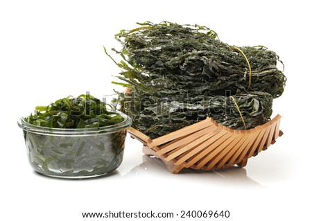 green seaweed on white background  - stock photo
