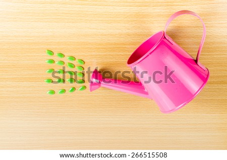 Green seed with pink garden watering can on wooden board