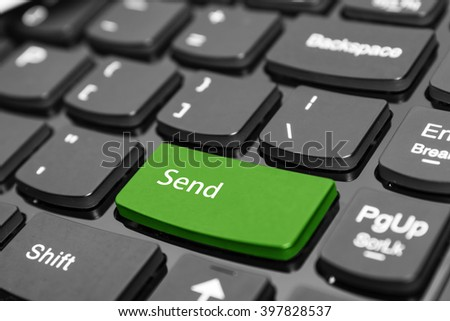 green send key in keyboard.concept of send.