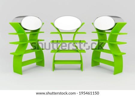 green shelves design on white background - stock photo