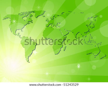 Green shiny background with map of the world. Vector version available - stock photo