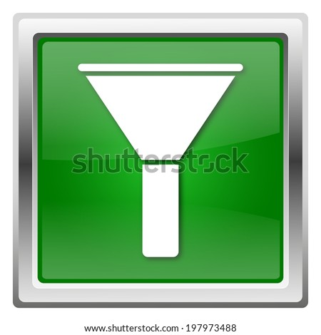 Green shiny glossy icon isolated on white background - stock photo
