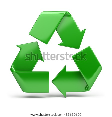 green, shiny recycling symbol. 3d image. Isolated white background. - stock photo