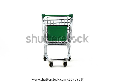 Green Shipping cart isolated on White - stock photo
