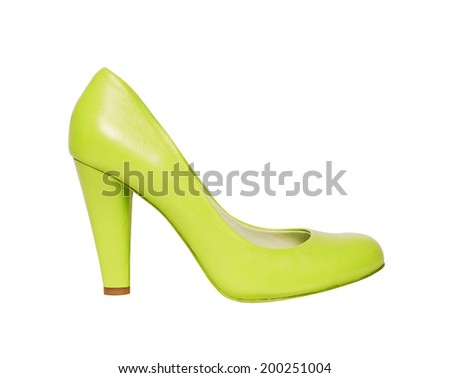 green shoes isolated on white background - stock photo