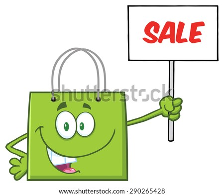 Green Shopping Bag Cartoon Character Holding Up A Blank Sign With Text. Raster Illustration Isolated On White - stock photo