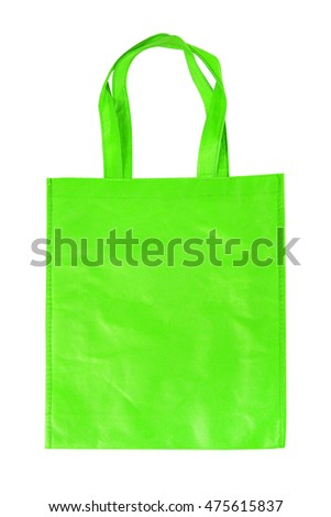 green shopping bag isolated on white background with clipping path