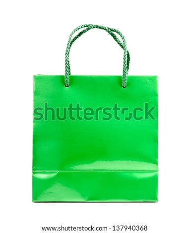 Green shopping bag on a white background.