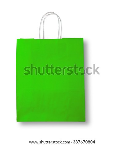 Green shopping bag on white with shadow and space for your logo or text