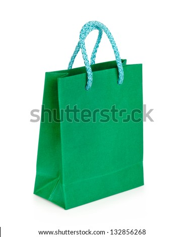 Green shopping bag over white background