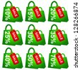 Green Shopping Bag With Red Sale Tag and 10 - 70 Percent Discount Isolated on White Background - stock photo