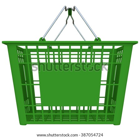 Green Shopping Basket Isolated Over White Background - Copy Space - stock photo