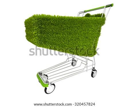 green shopping cart, eco - stock photo
