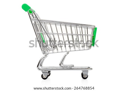 Green shopping cart isolated on white, clipping path included - stock photo