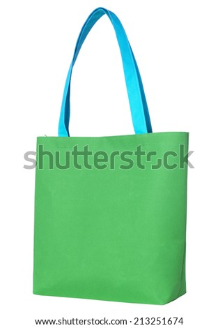 Green shopping fabric bag isolated on white background with clipping path