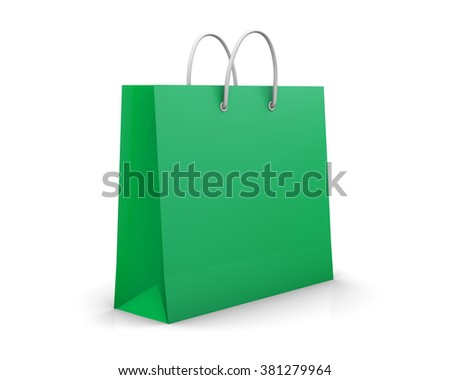 green shopping paper bag isolated on white background, illustration.