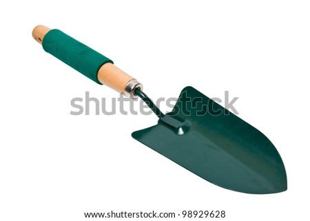 green shovel with wooden handle isolated on white background - stock photo