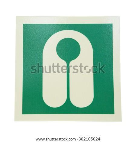 Green sign lifejacket isolated on white background - stock photo