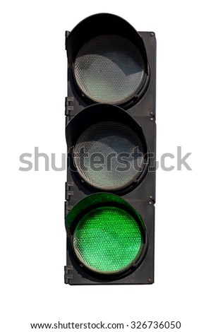 green signal of the traffic light in isolation