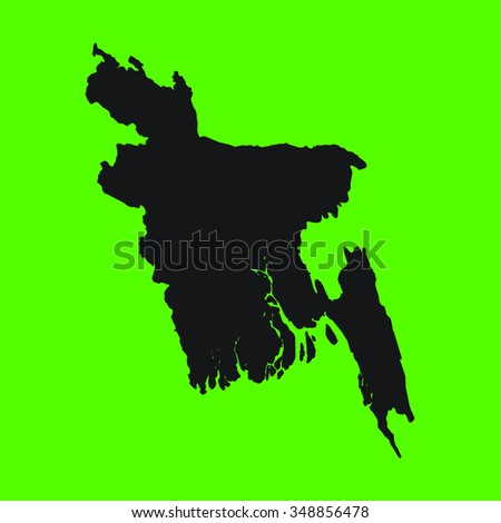 Green Silhouette of the Country Bangladesh