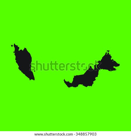Green Silhouette of the Country Malaysia