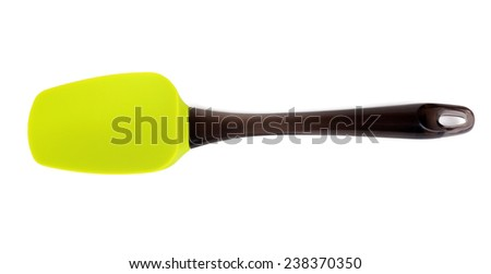 Green silicone spatula isolated on white - stock photo