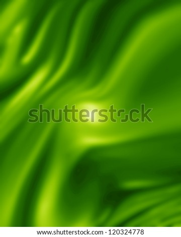 Green silk background with some soft folds and highlights - stock photo