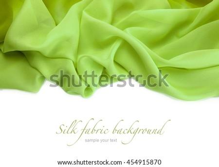green silk fabric background - stock photo