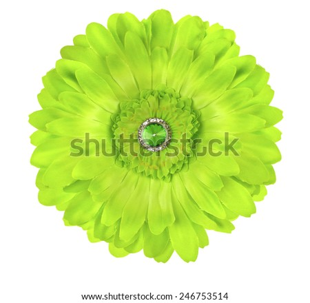 Green Silk Germini Daisy Flower with Rhinestone center and Gem - stock photo