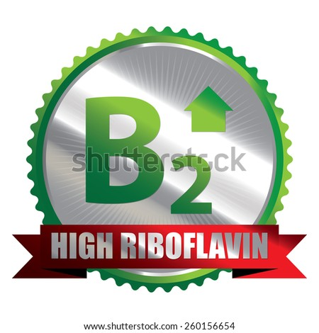 Green Silver High Riboflavin B2 Vitamin Ribbon, Badge, Icon, Sticker, Banner, Tag, Sign or Label Isolated on White Background - stock photo