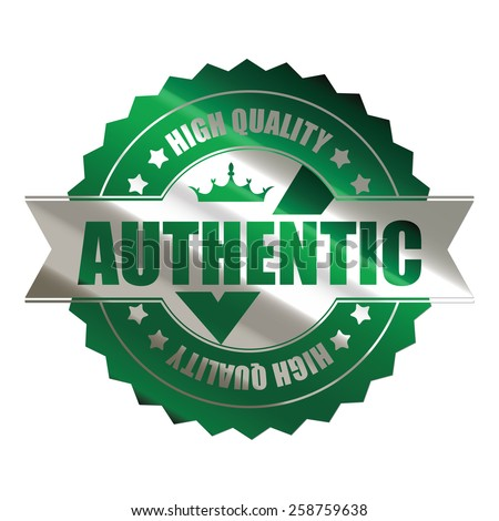 green silver metallic authentic high quality sticker, icon, label, sign, banner isolated on white  - stock photo