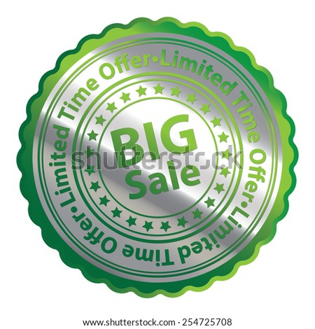 Green Silver Metallic Big Sale Limited Time Offer Icon, Button, Label, Sign or Sticker Isolated on White Background  - stock photo