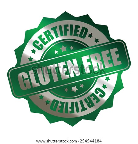 green silver metallic gluten free certified sticker, banner, sign, icon, label isolated on white - stock photo
