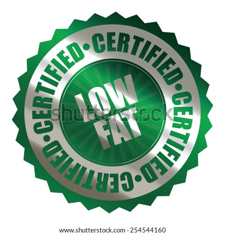 green silver metallic low fat certified sticker, banner, sign, icon, label isolated on white