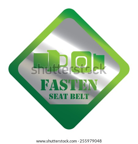 Green Silver Metallic Rhombus Fasten Seat Belt Icon, Label, Banner, Tag or Sticker Isolated on White Background  - stock photo