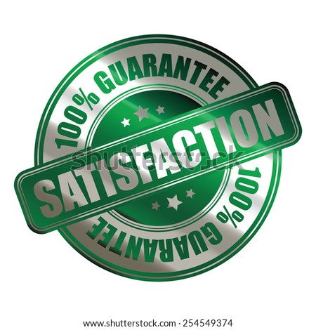 green silver metallic satisfaction 100% guarantee badge, sticker, banner, sign, icon, label isolated on white