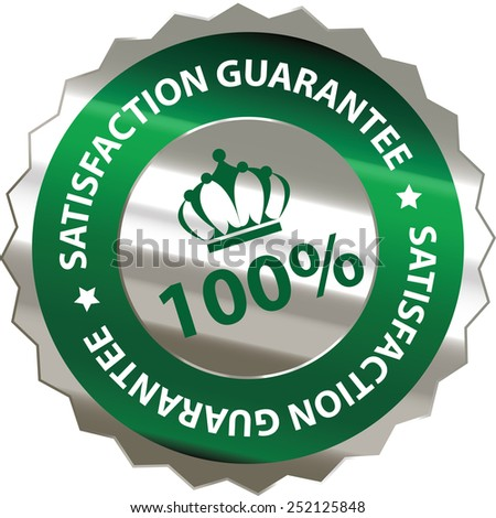 green silver metallic 100% satisfaction guarantee sticker, sign, badge, icon, label isolated on white - stock photo