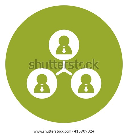 Green Simple Circle Business Connection Flat Icon, Sign Isolated on White Background  - stock photo