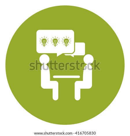 Green Simple Circle Businessman Discussion, Brainstorming, Exchange Idea Infographics Flat Icon, Sign Isolated on White Background  - stock photo