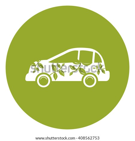 Green Simple Circle Eco Car Infographics Flat Icon, Sign Isolated on White Background