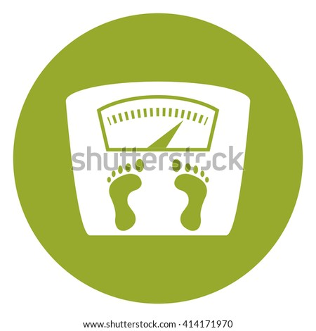 Green Simple Circle Weight Scale Infographics Flat Icon, Sign Isolated on White Background - stock photo